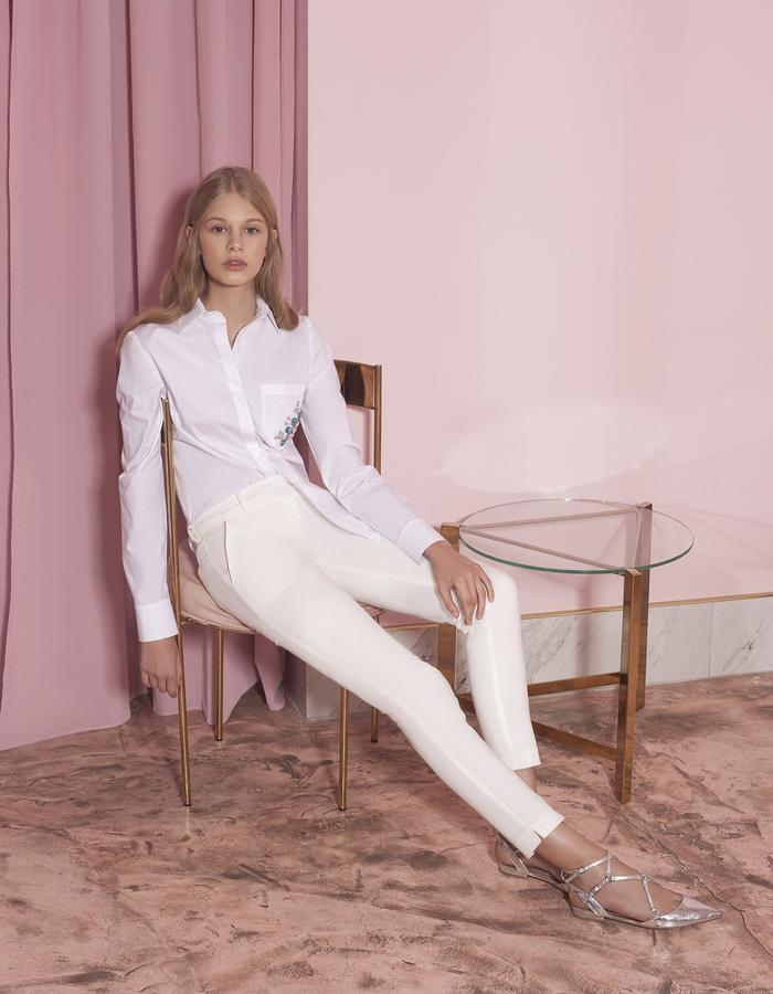white classic shirt with Swarovsky crystals and white pants