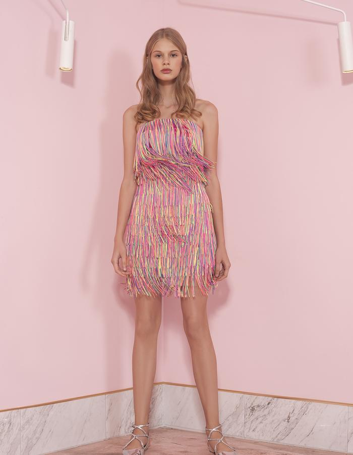pink mini dress with fringes
