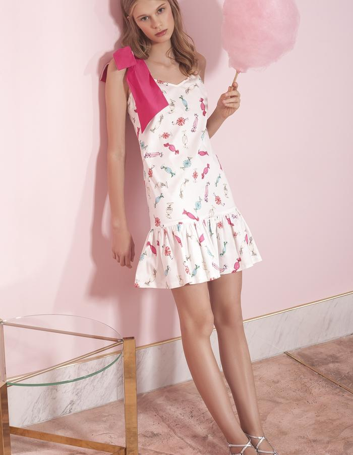 "cotton mini dress with a belt and ""candies"" print"