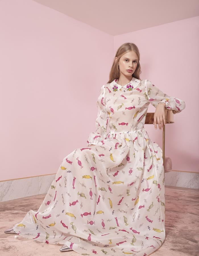 "long silk dress with ""candies"" print"