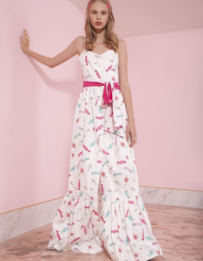 "cotton long dress with ""candies"" print"