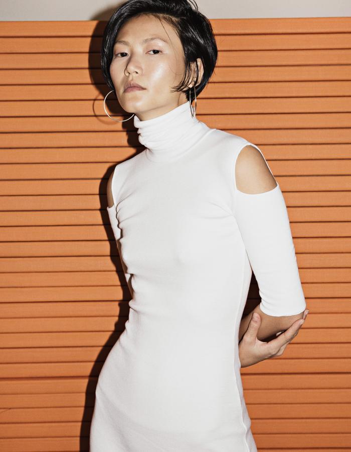 White Rib Cotton Dress