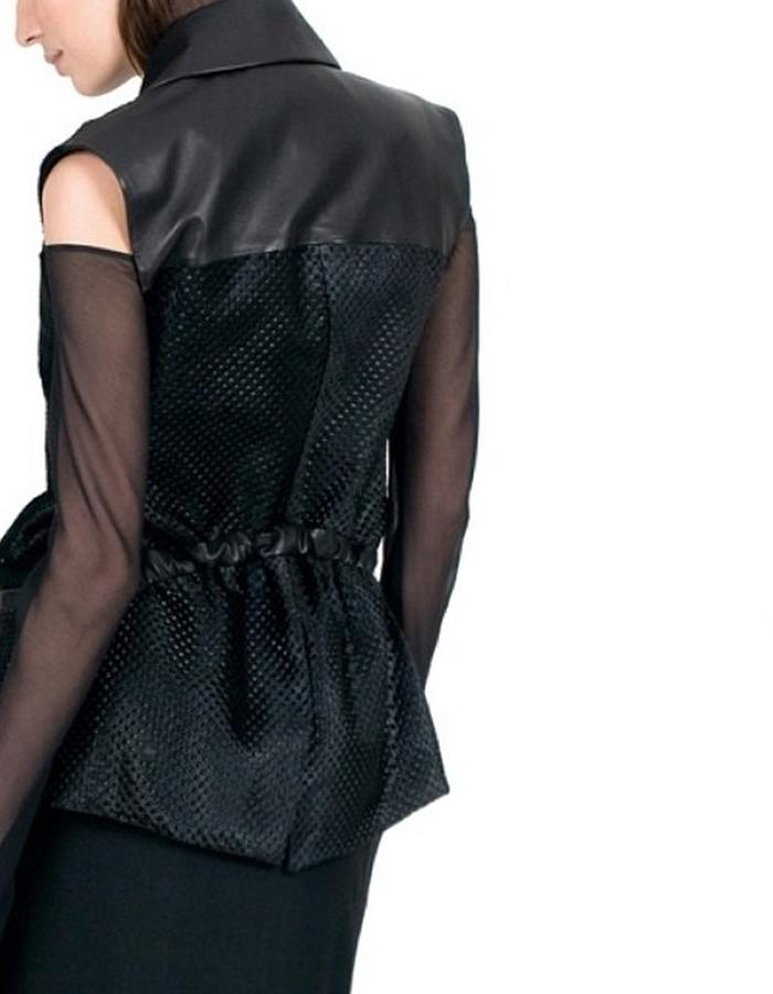 WALDMANN Avedon Sleeveless Jacket. Convertible style in embossed calfskin and leather. Concept, design and pattern by Elle Waldmann as part of the MA at London College of Fashion.
