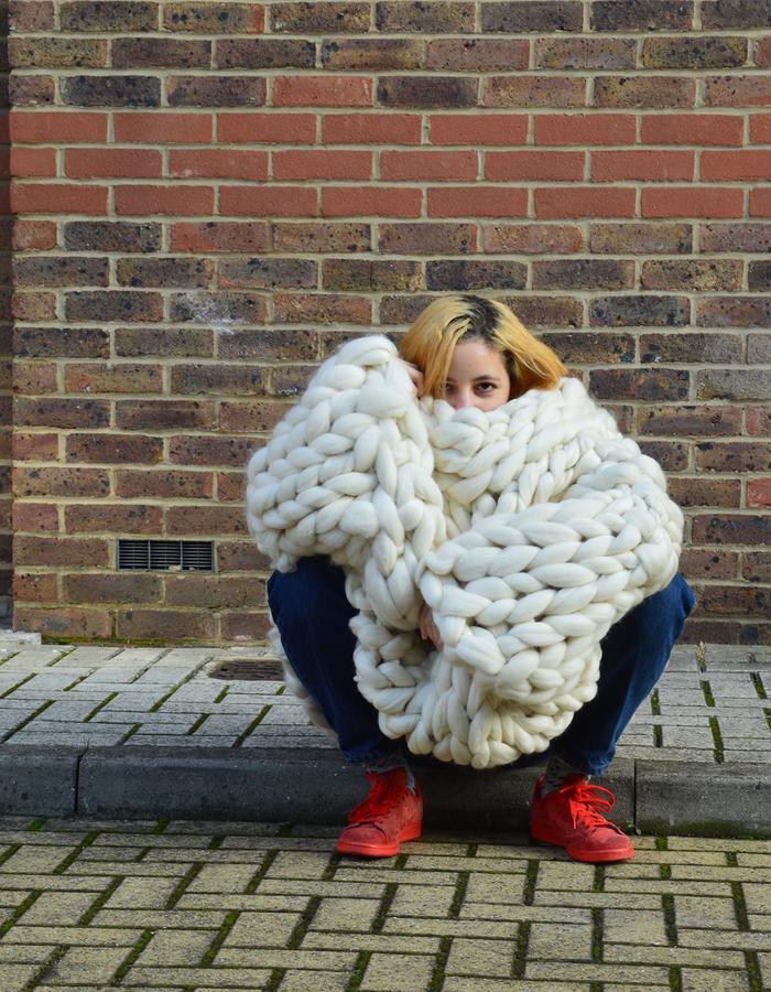 super chunky, arm knitting, wool, jumper