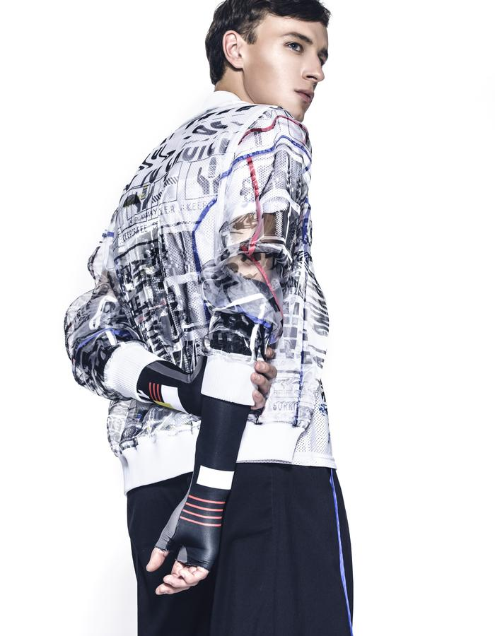 Digital print transparent bomber jacket
