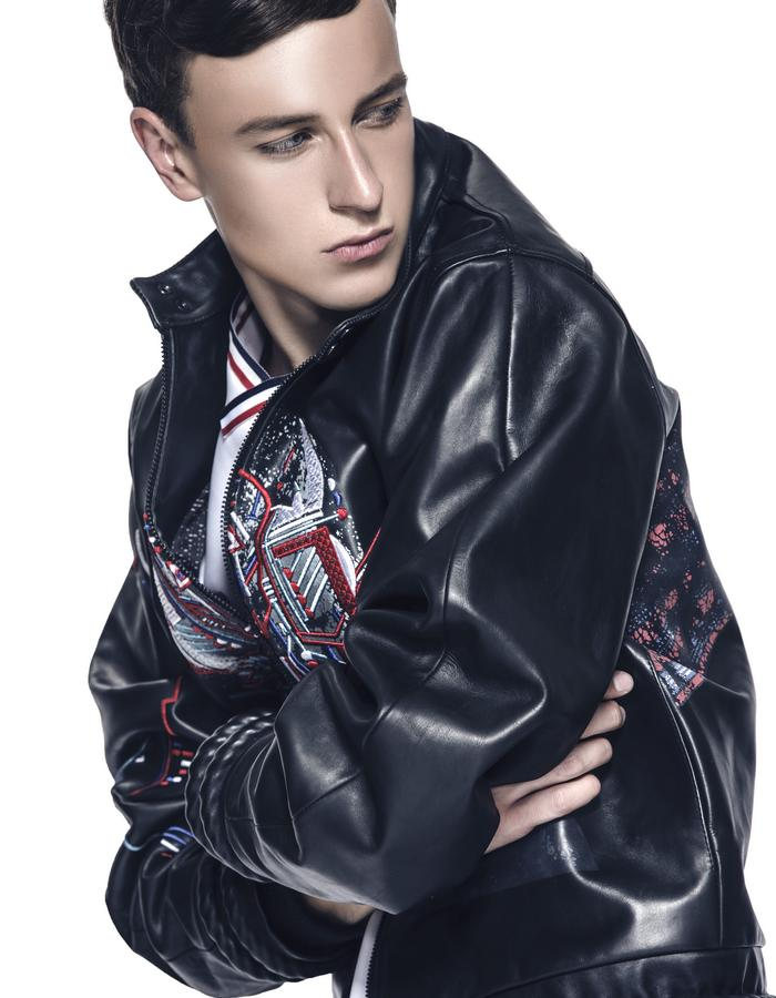 Digital Print w/ Embridered Leather Jacket