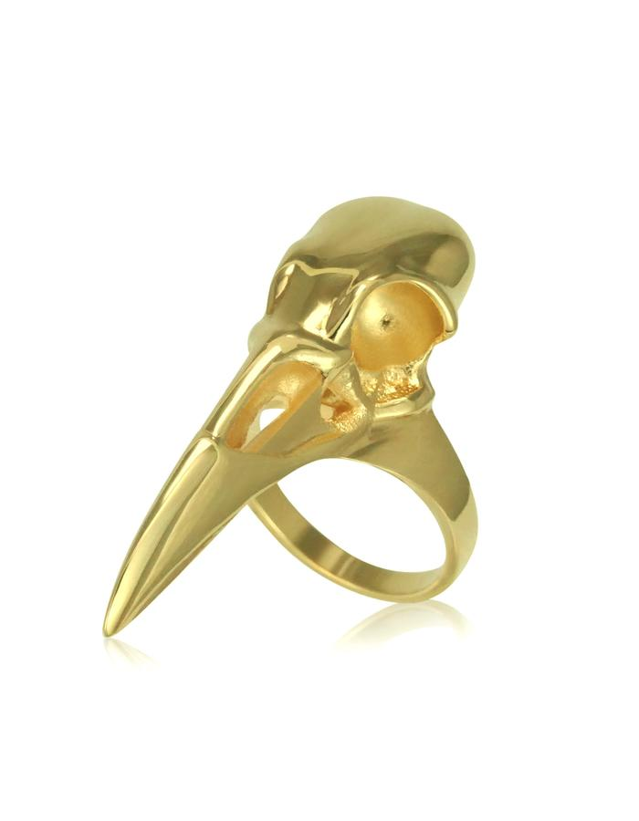 Gold Raven Skull Ring
