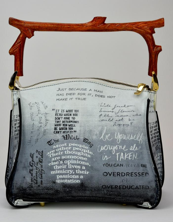 The Wilde Bag - Inspired by Oscar Wilde and his witty observations, this luxury leather handbag is printed with quotes from Oscar Wilde's literature