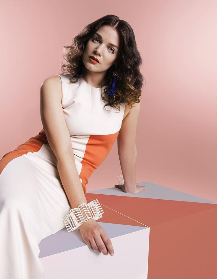Workday bodycon dress in powder pink and peach orange