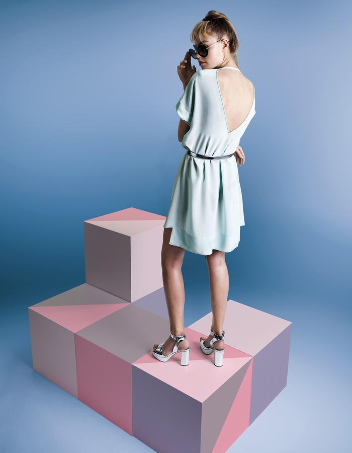 Day silk dress customized with deep V at back and aqua dusty blue
