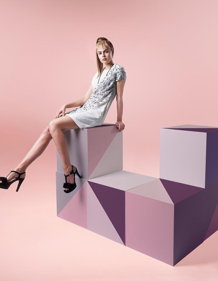 Saturday silk dress customized in a playful geometric print