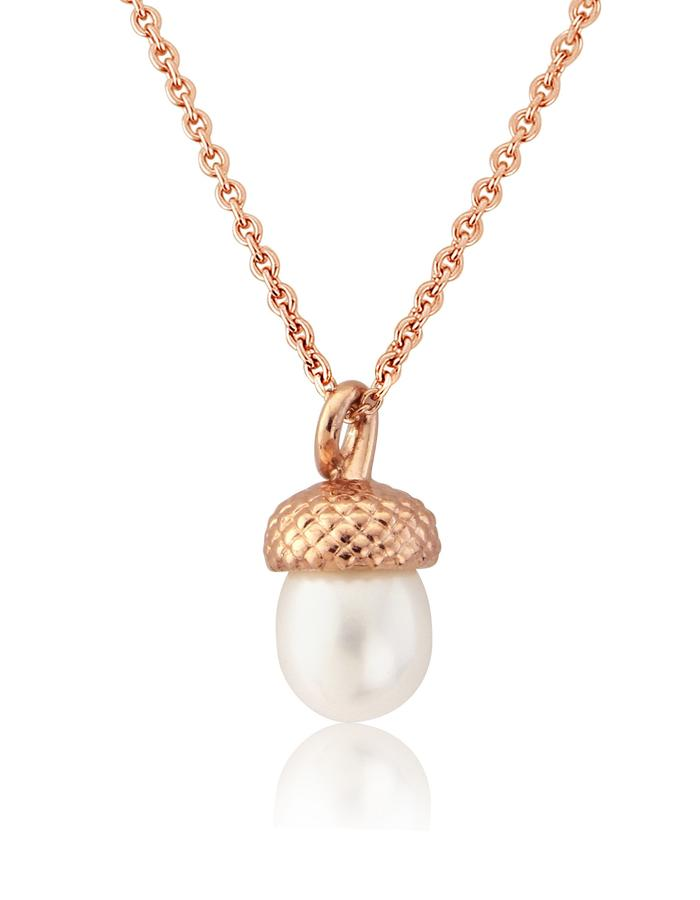 Rose Gold Vermeil Large Pearl Acorn Pendant