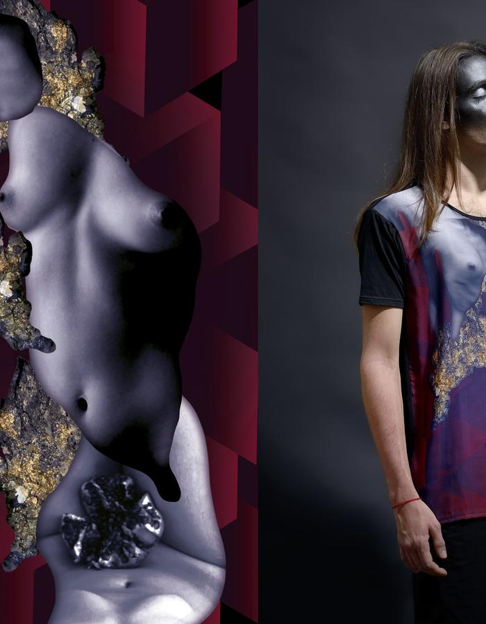 Litha Digital Printed Silk and Pima Cotton T Shirt