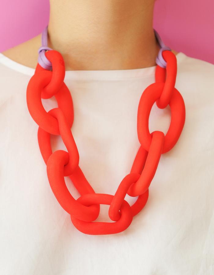 Vermillion red necklace