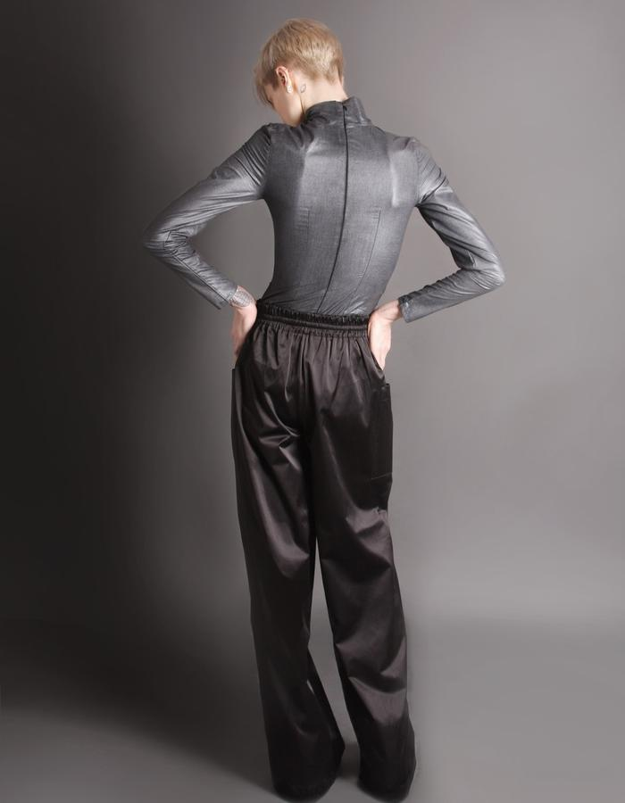 Silver bodysuit + Cotton shine trousers back