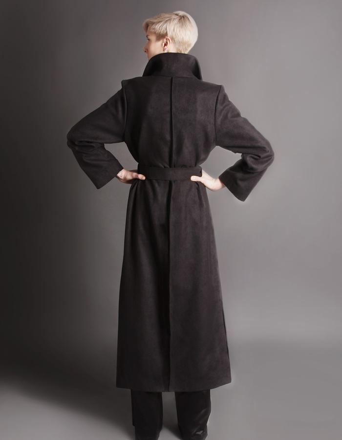 Black wool coat back