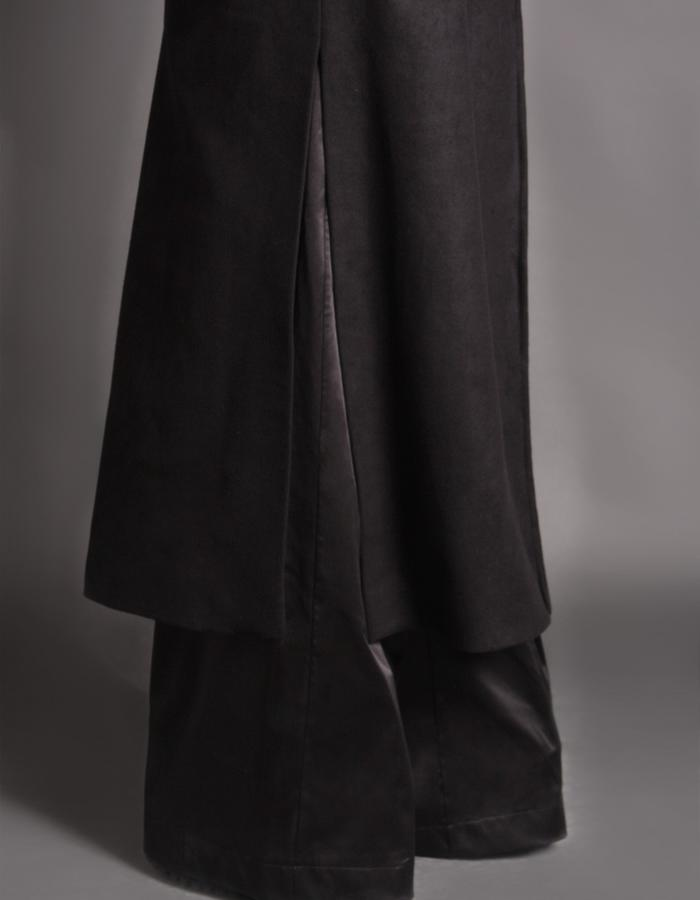 Black wool coat detail
