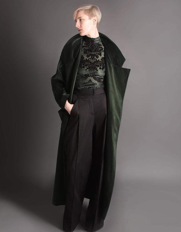 Green velvet coat front open