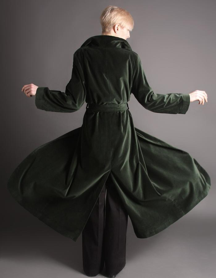 Green velvet coat back