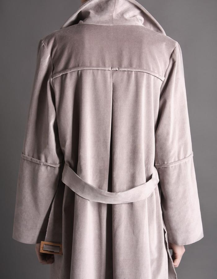 Grey velvet coat with bamboo buckle back detail