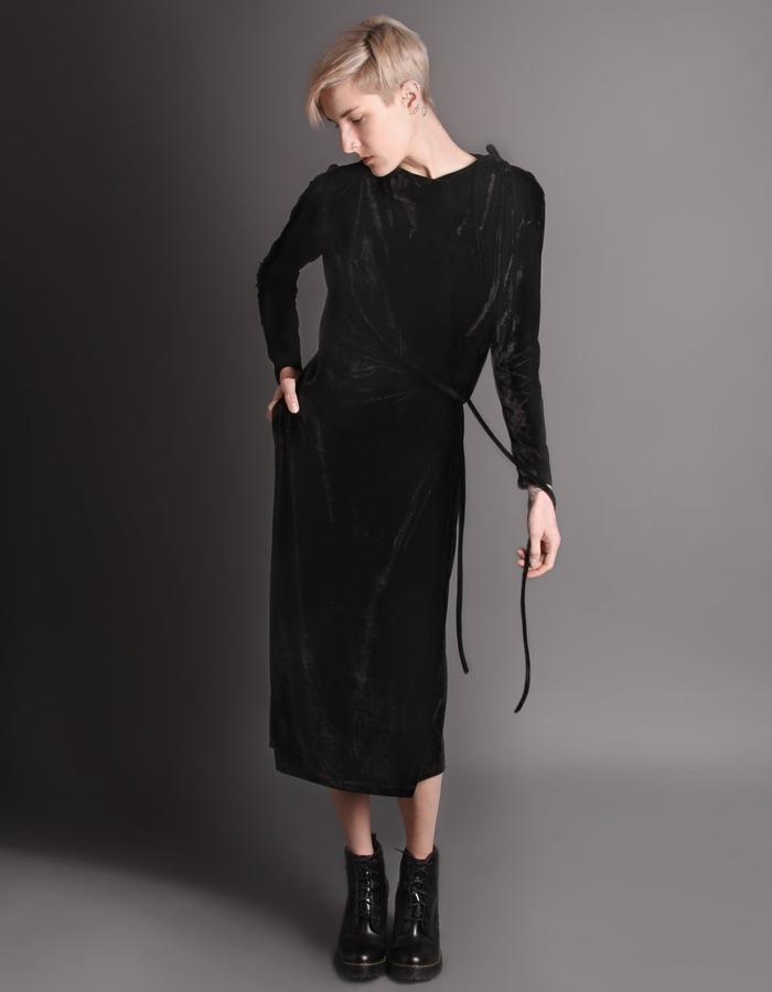 Black wrap dress front