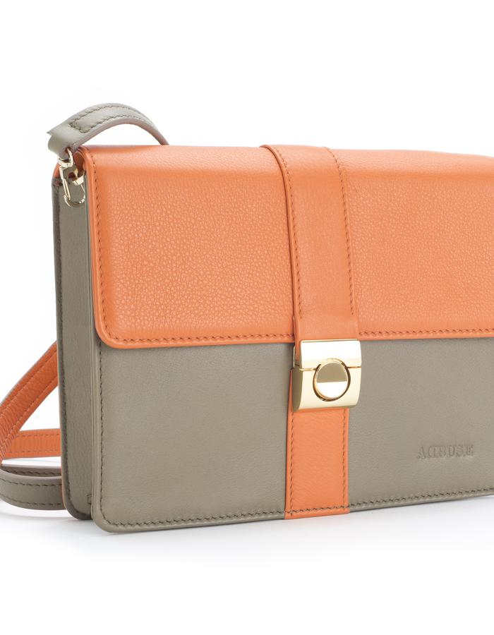 """AdBUSE SUNRISE """"bracelet clutch"""" as """"crossing bag"""" with bicolour removable strap; smooth orange and taupe nappa calf leather."""