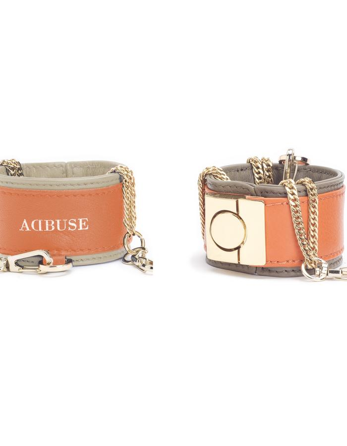 """AdBUSE SUNRISE  leather """"bracelet"""" of smooth orange and taupe nappa calf leather with removable chain."""