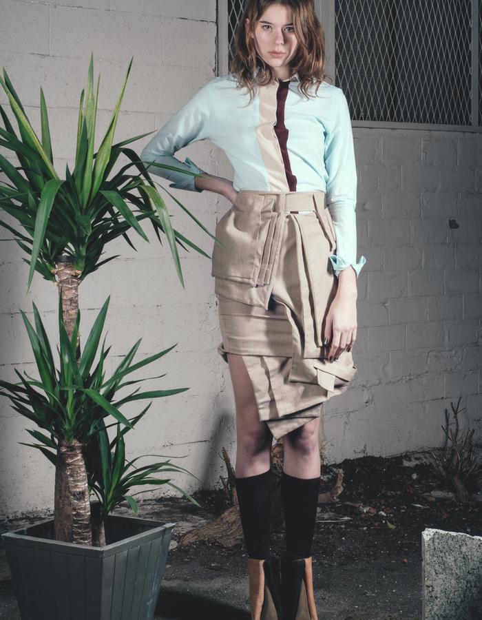 framed shirt - pleated skirt