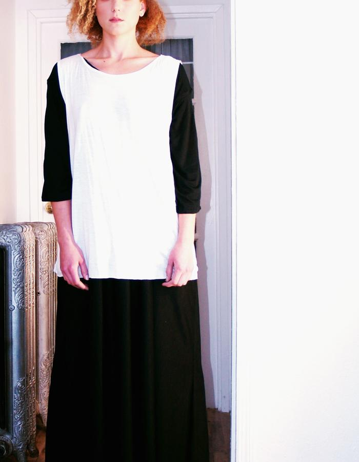 Layers, white with black dress