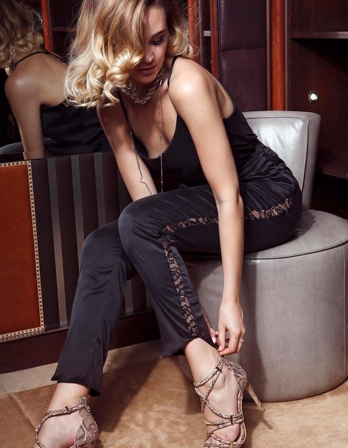 black stretch silk trousers with lace