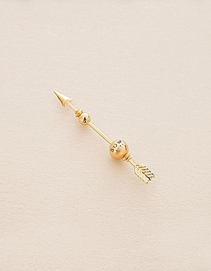 BOW LABEL - MAKE WEIGHT EARPIN - GOLD PLATED SILVER -140 euro