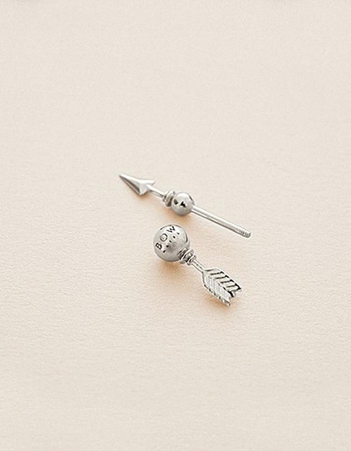 BOW LABEL - MAKE WEIGHT EARPIN - RHODIUM PLATED SILVER -140 euro