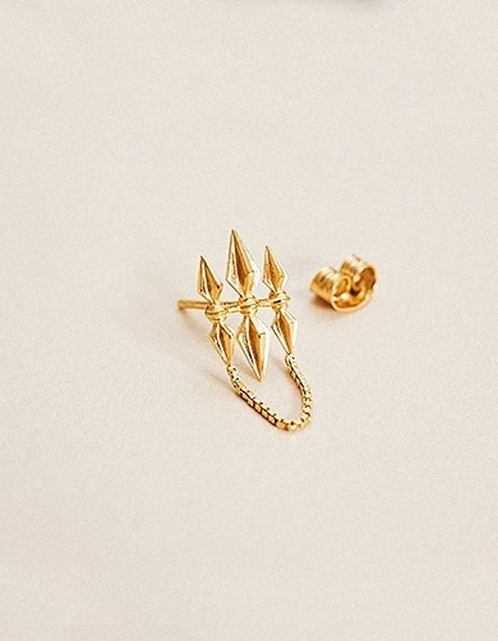 BOW LABEL - TRISHULA STUD EARRING - RHODIUM PLATED SILVER - 80 euro