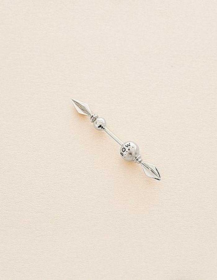 BOW LABEL - VANQUISH EARPIN - RHODIUM PLATED SILVER -140 euro