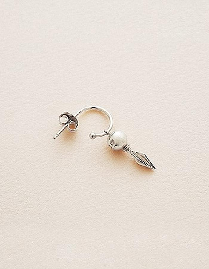BOW LABEL - VANQUISH HOOP EARRING - RHODIUM PLATED SILVER -100 euro