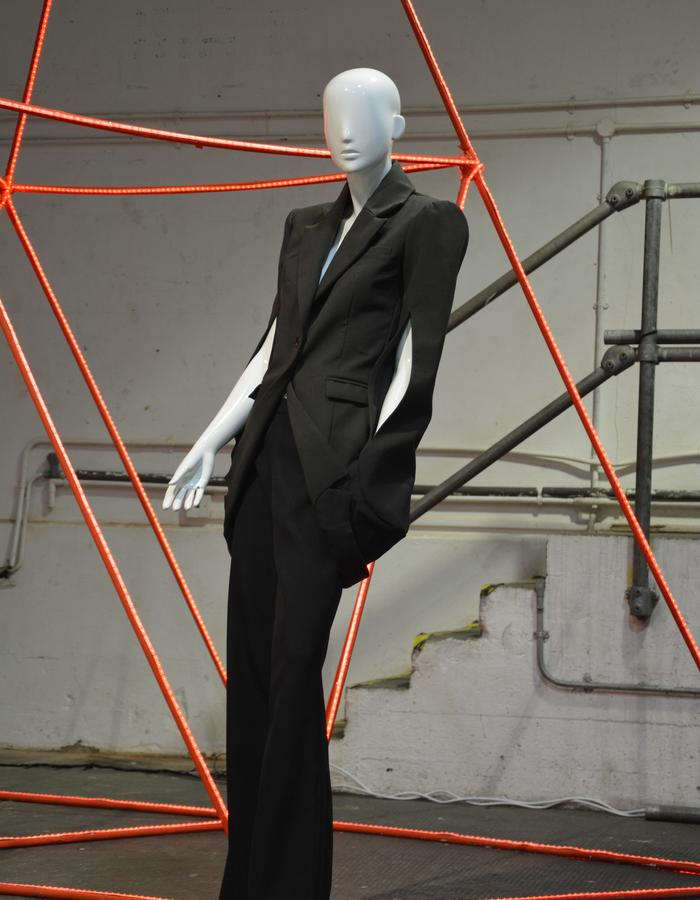 conjoined jacket suit with tailored trousers radical dark macabre
