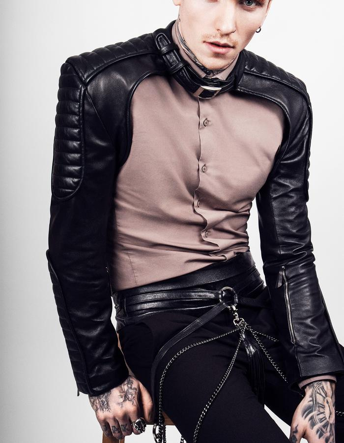 Darkest Star Mens Leather Biker Sleeves