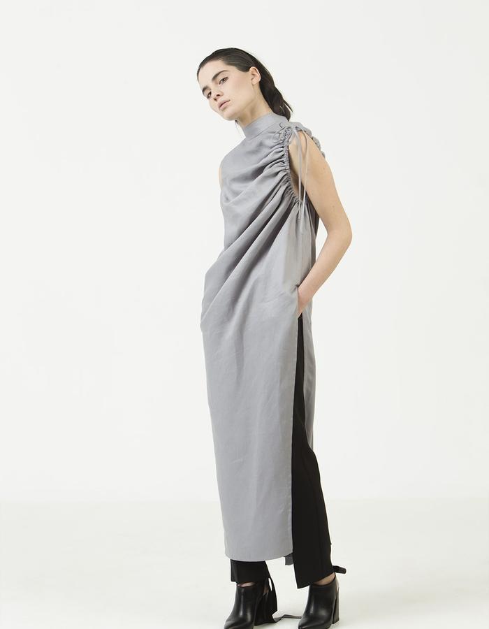 DRAPE SIDE GREY DRESS