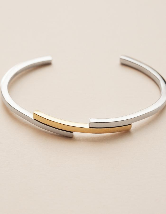 BOW LABEL - LOVE'S PEACE CUFF - GOLD/RHODIUM PLATED SILVER