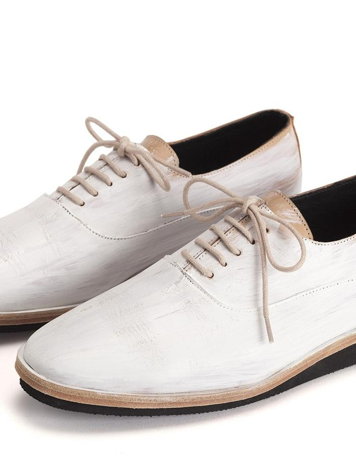 Men's hand painted white shoes.