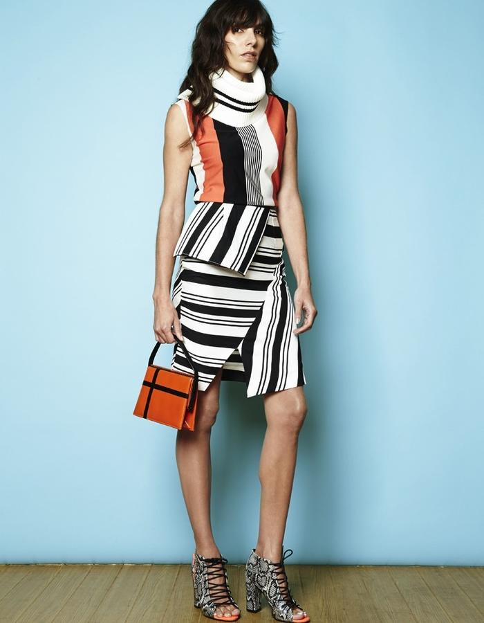 Pantone Orange 021uP top and Stripe Collage Skirt