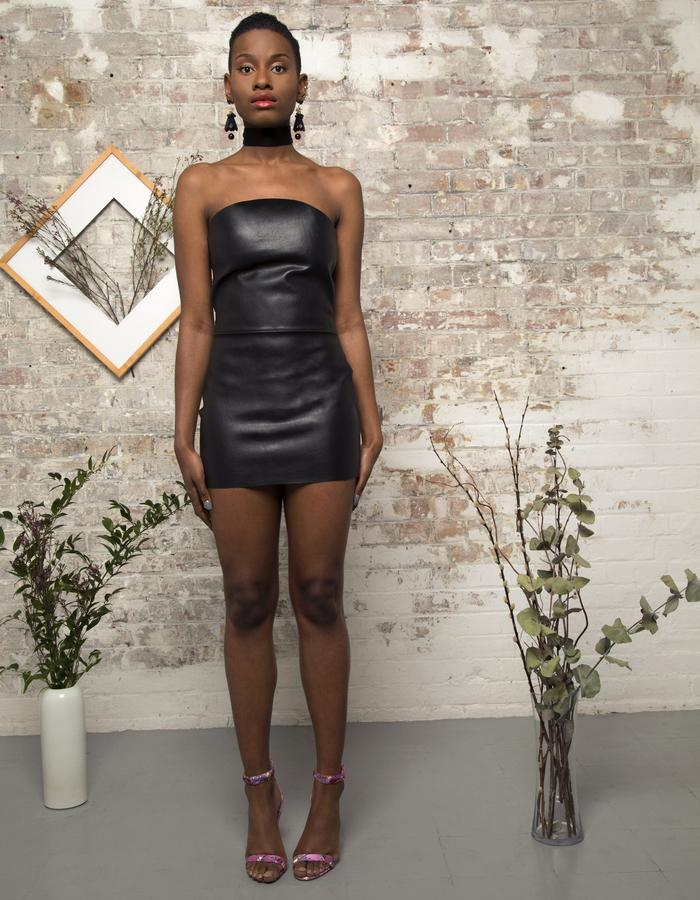 Lonseluet Front Leather Dress