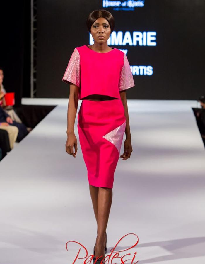 Pink suede crop top with printed leather detail sleeve and matching skirt