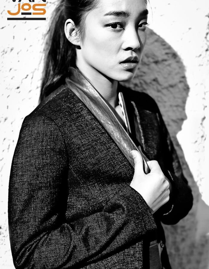 Van Jos womens business wear Amsterdam - blazer with leather lapel