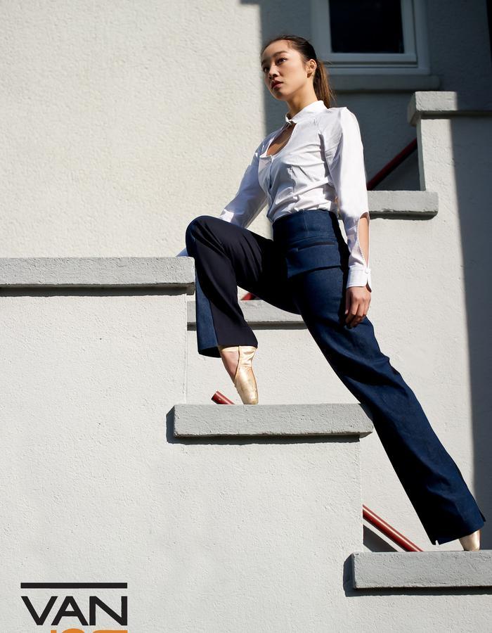 Van Jos womens business wear Amsterdam - half and half denim pants