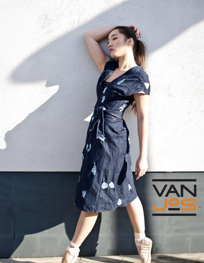 Van Jos womens business wear Amsterdam - denim wrapp dress