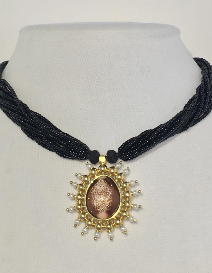 Cowrie - with black bead necklace - back