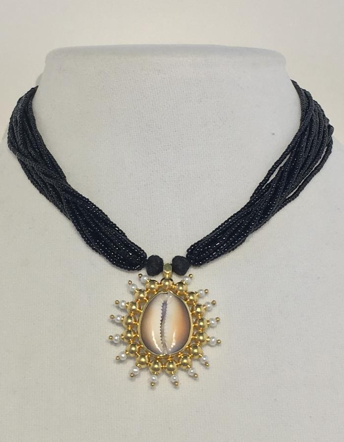 Cowrie - with black bead necklace - front