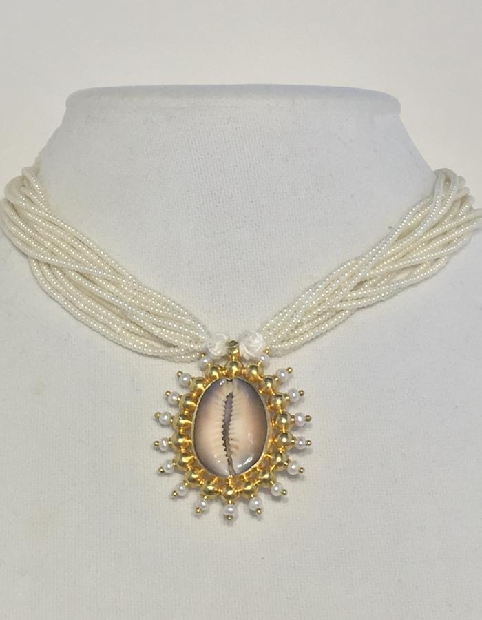Cowrie - with white bead necklace - front