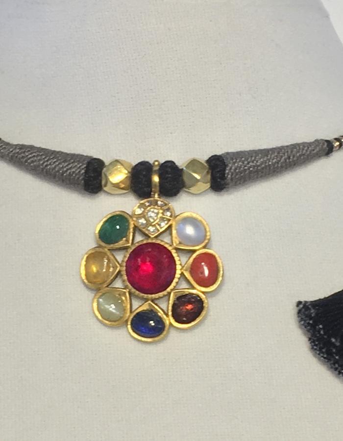 Navaratna Pendant Necklace - grey cord